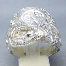 """925 SOLID STERLING SILVER HANDMADE """"SADDLE WITH ROPE"""" DRESS RING SIZE """"W"""" 844"""