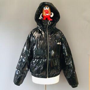 ELLESSE High Shine Black Bubble puffer coat / jacket Size 8 10 Zip Hood G1