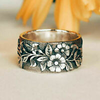 Vintage Women 925 Silver Handmade Carved Rose Flower Ring Bride Wedding Jewelry