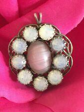 Vintage Antique Pink Malachite/Moon Stone 925 Sterling Pendant Filigree Round