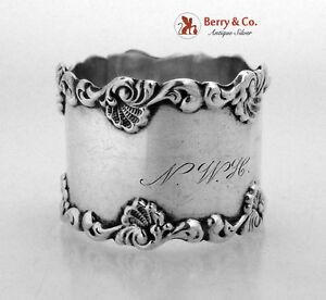Shell Scroll Napkin Ring Towle Sterling Silver 1900 Monogram NWH