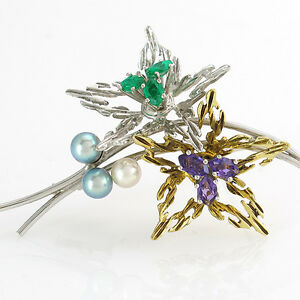 Stylish Brooch With 3 Pearls, Amethyst And Emeralds, 14K/585 Gold - 7,1 G