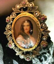 ANTIQUE 18K GOLD  BROOCH PIN RUBIES DIAMONDS MINIATURE PAINTING.ITALY
