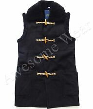 Ralph Lauren Polo Women's Black Shearling Suede Long Warm Toggle Vest Jacket XS