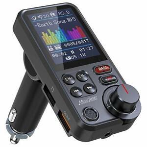 "Nulaxy Car Bluetooth Transmitter, 1.8"" Color Screen Bluetooth Car Radio Adapter"