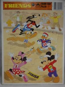 Golden Frame-Tray Puzzle Walt Disney's Friend's Vintage 1985 Mickey Minnie Goofy