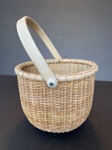 "VTG Small Basket Nantucket Kitchen Planter Wooden Swivel Handle 5"" Tall"