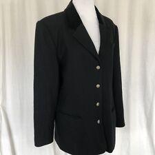 Cambridge Dry Goods L Black Wool Equestrian Riding Jacket Velvet Collar Buttons