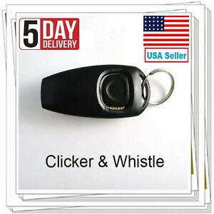 Pet Puppy Dog Clicker & Whistle - Training Obedience Agility Trainer Click Ring