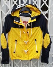 SUPERDRY HOODED DOCK DUFFLE JACKET LIGHTWEIGHT YELLOW & NAVY BLUE SIZE S 10 12