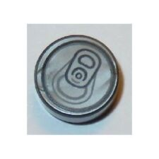 LEGO - Tile, Round 1 x 1 with Soda Pop Can Top Pattern - Flat Silver