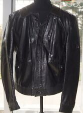 Saxony Leather Jacket Slim Fit Men's Small Vintage Look Coat Black Soft Grain