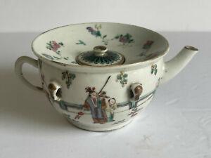 Scarce 19thc GUANGXU Chinese Famille Rose Porcelain Fine Figural Tea Water Pot