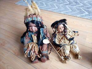 2 x Leonardo Large Native American Indian Dolls