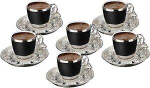 Turkish Greek Arabic Coffee Espresso Demitasse Cup Saucer Spoon Set, Black Cups