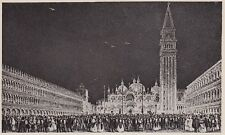 D4955 Venezia - Piazza San Marco illuminata - Stampa d'epoca - 1938 old print