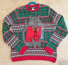 Cat Ugly Christmas Sweater Men's size L Cat With Bow Tie Holiday Red 33 Degrees