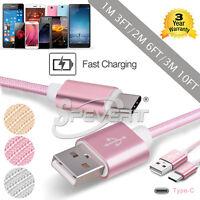 Type-C USB Nylon Données Chargeur Sync Data Câble Pour samsung S8 HUAWEI P9 P10