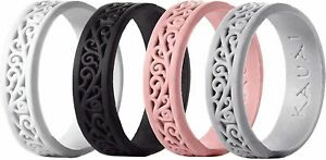 4 Pack Womens Silicone Wedding Ring Comfort Pro-Athletic Size 4, 5, 6, 7, or 8