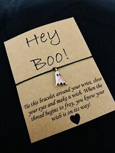 👻 Cute Hey Boo Halloween Friendship Wish Bracelet Ghost Charm Gift Present 👻
