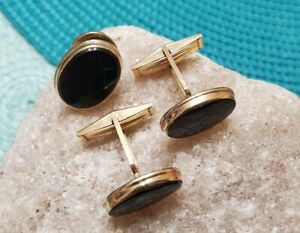 Nice!! 14k Yellow Gold & Onyx? Stone Cuff Links And Tie Tack 9.02g