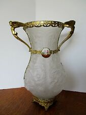 "1930's TIFFIN Art Glass 14"" Vase SATIN POPPY Hand Painted CAMEO Gold Ormolu Trim"