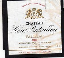 MARGAUX 5E GCC ETIQUETTE CHATEAU HAUT BATAILLEY 1985 75 CL RARE  §04/07/18§