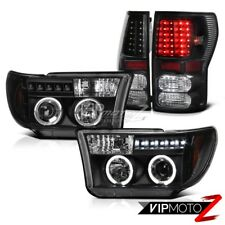 For 07-13 Toyota Tundra L+R Black Halo Projector Headlight+Smoke LED Tail Light