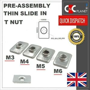 M3 M4 M5 M6 Sliding T nut Thin Pre Assembly Aluminium Extrusion Profile T V-slot