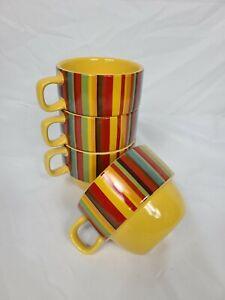 4 World Market Stacking Multi Color 8oz Coffee Tea Mugs