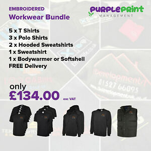 Embroidered Workwear Bundle Logo Embroidery - T Shirts - Polo - Hoodie - Jacket