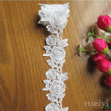 1 yard Vintage Rose White Embroidered Lace Trim Ribbon Applique DIY Sewing Craft