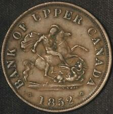 1852 Bank of Upper Canada One Half Penny - Nice Coin - Free Shipping USA