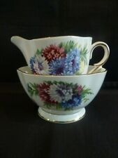 Vintage Windsor Bone China Cream Milk Jug & Sugar Bowl in Harvest Glory