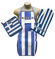 Greece Kitchen & BBQ Set NEW w/ Apron Oven Mitt & Pot Holder Greek Flag FREE S/H