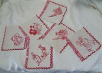 Set of 6 Antique French Pure Linen Napkins Hand Embroidered Alsace Pattern