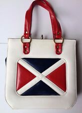 "VINTAGE TRIO 60s Mod RED WHITE BLUE Purse Handbag 10.5"" x 11"" x 3"" Very Twiggy!"