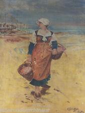 Magnifique femme bretonne huile sur toile du début du 20s