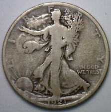 1921 D Walking Liberty Silver Half Dollar 50 Cent US Type Coin VG