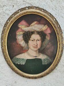 Tableau Ancien Huile Grand Portrait Ovale de Femme Élégante XIXe superbe Cadre