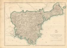 1863 Large Antique Map - Dispatch Atlas- Devonshire, South Division