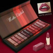 12 Color Women Sexy Matte Lipstick Lip Gloss Waterproof Set Ladies Makeup
