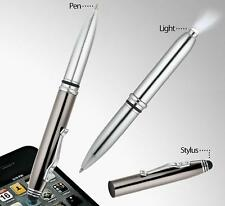 Tri-function Pen LED Flashlight & Capacitive Touch Screen Stylus Gunmetal Iphone