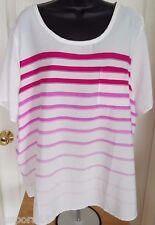 Jessica London Womens Pink White Striped Shirt Top Blouse Size 20