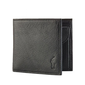 Polo Ralph Lauren Pebble Soft Black Genuine Leather Wallet With Coin Pocket UK