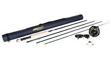 "Airflo 8ft 6"" 4/5 Fly Fishing Kit Rod Reel Float Line Fly Box & Tube Sunglasses"