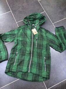 Nike Sportswear checked zipped hooded Jacket Sz Small Green Black windrunner