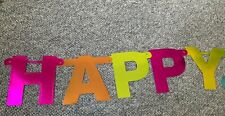Metallic Foil Happy Easter Banner Spell Out Bunny Rabbit Decor Party (as is)