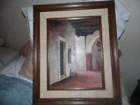 """Vintage Doorway/Building Scene Oil on Canvas by Strong 12"""" x 16"""""""
