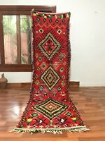 "Vintage Moroccan handmade Rug 9'6""x 3' Bohemian Geometric Runner Berber Colorful"